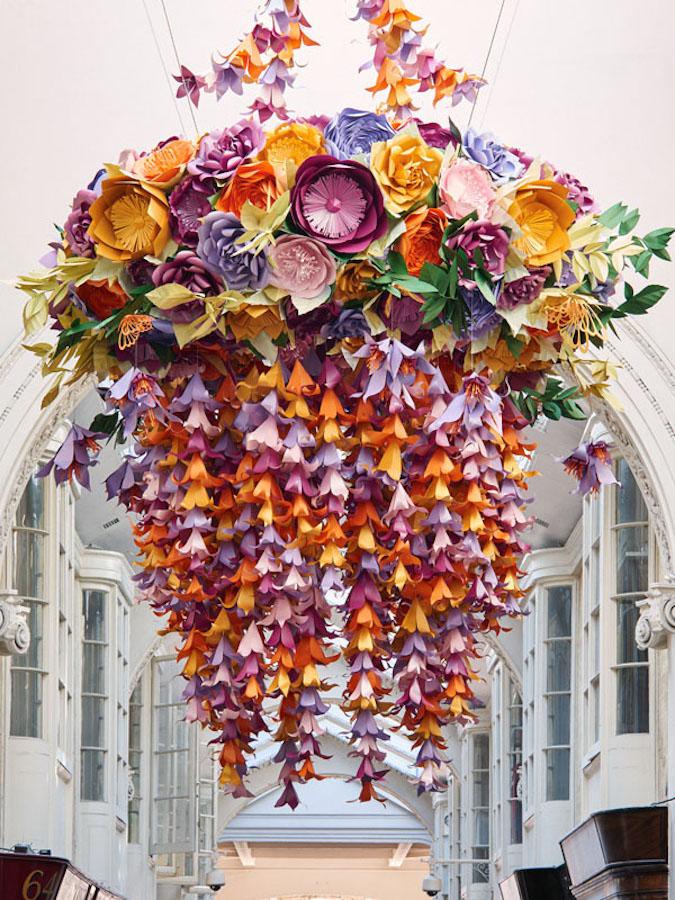 Floral Paper Chandeliers By Artist Zoe Bradley