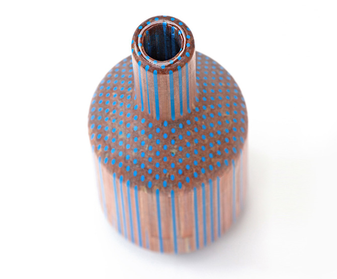 Wooden Vases Made Out Of Pencils by Studio Markunpoika