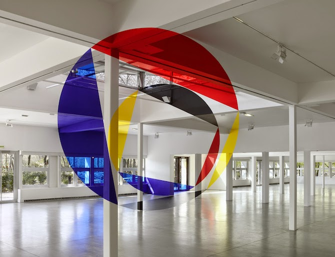 La Villette En Suites by Swiss artist Felice Varini, the geometric works are designed to create an optical illusion.