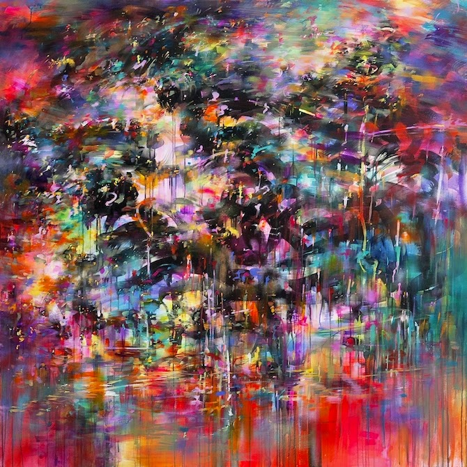 Using mostly acrylic and spray paints, Mr Jago's work is colorful, mesmerizing, and futuristic.