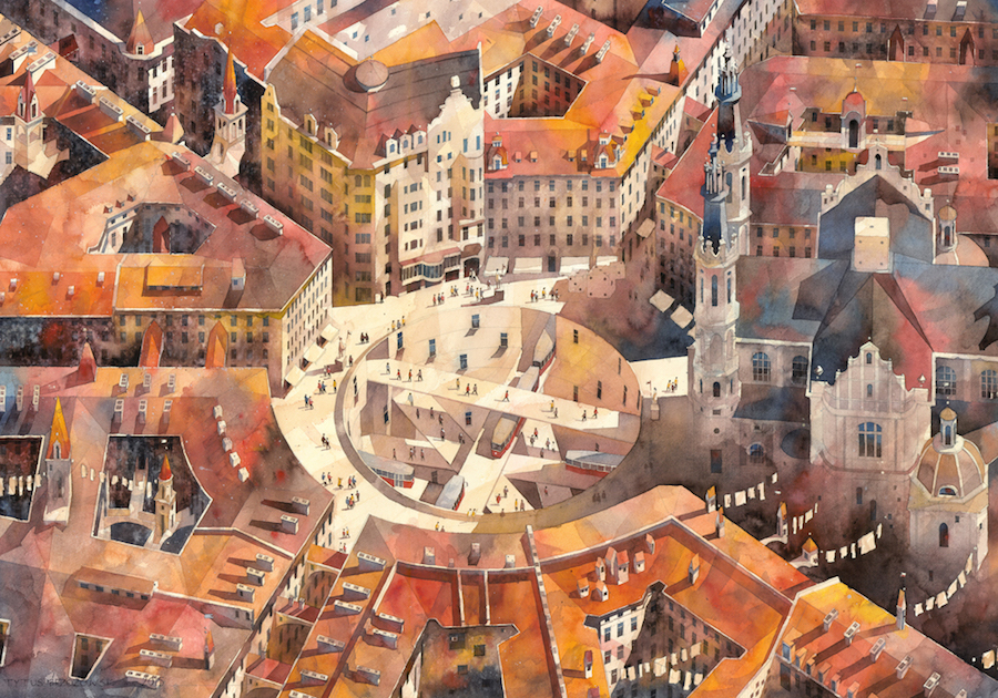 Architect and artist Tytus Brzozowski paintings are inspired by the architecture and landscape of Warsaw, Poland.