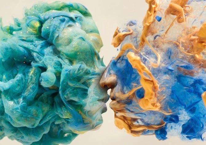 Portraits Formed from Paint Swirling in Water