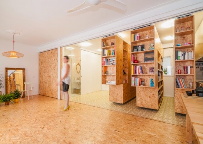 Gorgeous home in Madrid that can be rearranged within seconds. Functional small space by PKMN Architectures for designer Yolanda Pila.