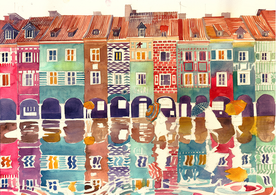 Architect and illustrator Maja Wronska Watercolor Paintings