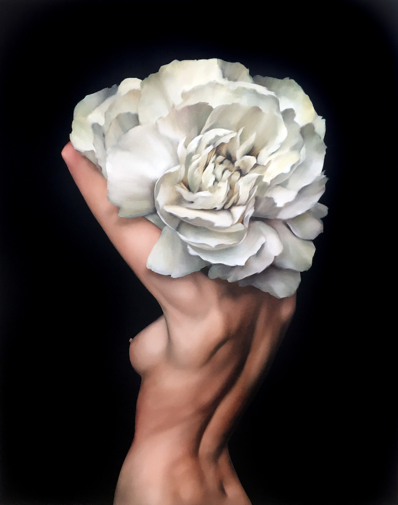 London-based artist Amy Judd creates stunning paintings that feature female figures with flowers, feathers and birds.