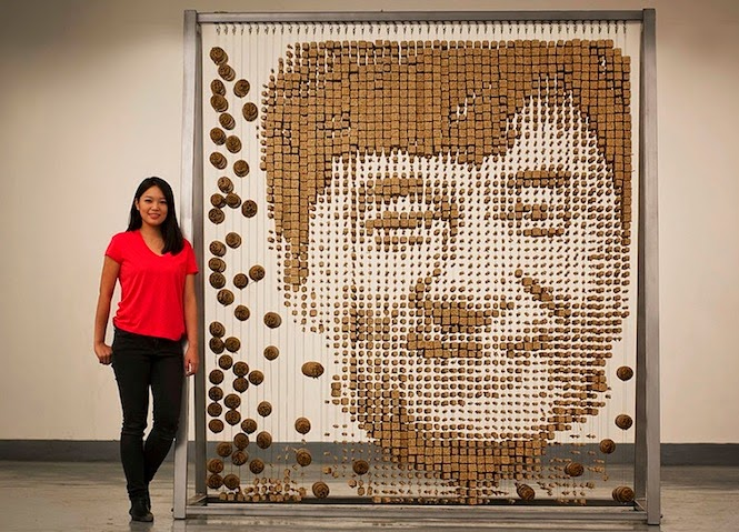 Portrait of Jackie Chan Created with Chopsticks