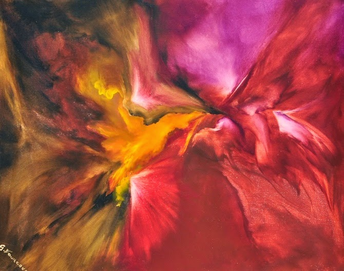 These stunning abstract paintings are vibrant bursts of color. Artist Géraldine Fourcault, uses multiple layers of oil to create beautiful works of art.