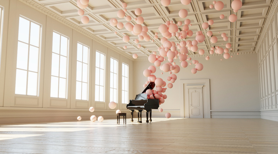 Digital Artist Federico Picci Visualizes Musical Notes As Charming Pink Bubbles